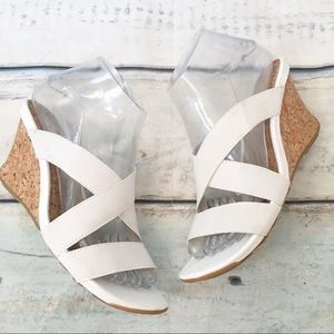 Kenneth Cole Reaction White Cork Wedge Sandals